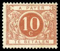 Lot 19833:1895-1916 SG #D97 10c reddish brown, Cat £26.