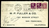 Lot 4281:1926 use of 20ø purple pair & 5ø pink, cancelled with 'OSLO/25VIII26 1-5E/Br.' (A1) machine, on printed cover to W.P. Fuller & Co in San Francisco, California, mild horizontal crease.