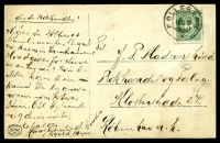 Lot 26981 [1 of 2]:1916 use of 5ø green, cancelled with double-circle 'FOLLERØEN/16IX16/*' (B1), on black & white PPC of 'Katnosasceteren Nordmarken' (a farm house or lumber yard in a forest), to Kobenhavn, Denmark, hinge remnants on picture side & some light toning.