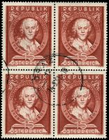 Lot 19882:1951 Martin Johann Schmidt SG #1230 1s brown-red, block of 4.