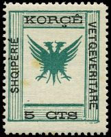 Lot 19695:1917 Shqipèrié Vetqeveritare Mi #6 5c green & black, Cat €20, couple of small tone spots.