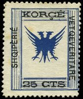 Lot 3298:1917 Shqipèrié Vetqeveritare Mi #8 25c blue & black, Cat €20, couple of small tone spots.