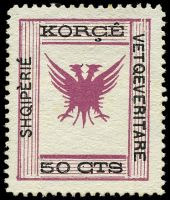 Lot 18794:1917 Shqipèrié Vetqeveritare SG #73 50c lilac & black, toned perf at top