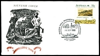 Lot 781:1988 Swan Hill Pioneer Settlement 37c early years, cancelled with 'SWAN HILL PIONEER SETTLEMENT/[house & steam engine]/16SEP1988/[paddle steamer]/VIC 3585' (A1), APM #4480, on Swan Hill souvenir cover.