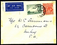 Lot 1020:1935 Port Lincoln - Adelaide AAMC #559 3d dull green air & 2d red KGV, cancelled with 'P[ORT] LINCOLN/[?]15A25NO35/S