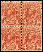 Lot 223:BW #59 1d red block of 4, BRC unit shows unlisted Break in TRC frame, Cat $24, toned perf at top, bottom units unhinged.