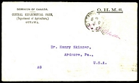 Lot 19910:1910 use of stampless Dominion of Canada, Central Experimental Farm, OHMS cover, cancelled with 'OTTAWA/18/AP5/10/CANADA/FREE' (A1-), to Ardmore, Pennsylvania.