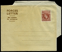Lot 4074:1945 Forces Letter 1½d brown on buff, Senders name line 43-45mm, dotted lines, Huggins & Baker #IFG4