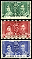 Lot 4200:1937 Coronation SG #137-9 set of 3, Cat £25, 4c has a toned perf, 25c has no gum & a couple of toned perfs.