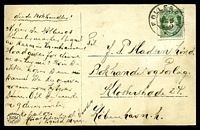 Lot 23373 [1 of 2]:1916: use of 5ø green, cancelled with double-circle 'FOLLERØEN/16IX16/*' (B1), on black & white PPC of 'Katnosasceteren Nordmarken' (a farm house or lumber yard in a forest), to Kobenhavn, Denmark, hinge remnants on picture side & some light toning.
