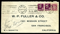 Lot 26305:1926 use of 20ø purple pair & 5ø pink, cancelled with 'OSLO/25VIII26 1-5E/Br.' (A1) machine, on printed cover to W.P. Fuller & Co in San Francisco, California, mild horizontal crease.