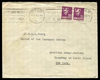 Lot 26306:1926 20ø purple pair, cancelled with 'OSLO/3IX26.8-MF/Br.' (A1-) machine, on cover to American Geographical Society, New York.