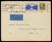 Lot 26309:1940 use of 30ø blue & 15ø brown-olive, cancelled with 'OSLO/17.1.40.13-16/Br, - BRUK/DRONNING MAUD/MERKER' (A1) slogan, on plain air cover to London, 15ø has torn TRC, couple of small closed tears at top.