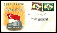 Lot 24929 [1 of 2]:1961 National Day SG #61-2 set of 2, on official illustrated FDC, cancelled with 'SINGAPORE/3JUN61/C' (B1) with neat typed address.