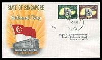 Lot 24930:1961 National Day SG #61-2 set of 2, on official illustrated FDC, cancelled with 'SINGAPORE/3JUN61/C' (B1) with neat typed address.