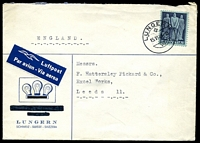 Lot 28126:1946 use of 50c violet-grey on blue-green, cancelled with double-circle 'LUNGERN/+/15VI46·16/VII', on electric globe envelope with company name obliterated, by airmail to Leeds, England.