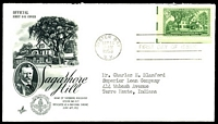 Lot 26028:1953 Matthew C Perry 5c green, Sc #1021 on Art Craft FDC with Washington cancel.