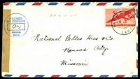 "Lot 4779:1945 use of 6c red air, cancelled with 'PAGO PAGO/FEB12/9AM/1945/SAMOA' (A1-), on 6c orange air envelope (stamp positioned over 6c franking), sealed at left with brown tape, tied by circular 'PASSED/BY CENSOR/[box]/American/Samoa' (A1) in blue, pencil annotation ""AIR IN US ONLY"", couple of pin holes."