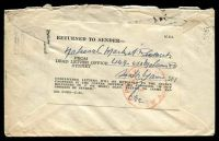 Lot 858 [2 of 2]:1955 use of 3½d QEII, cancelled with Melbourne machine of 6MAY1955, on plain cover with 'HILLSTON/16MY5