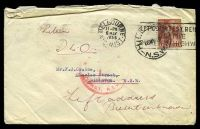 Lot 858 [1 of 2]:1955 use of 3½d QEII, cancelled with Melbourne machine of 6MAY1955, on plain cover with 'HILLSTON/16MY5