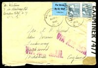 Lot 4535:1942 use of 15c Buchanan pair, cancelled with 'HEMPSTEAD/MAY 9/830PM/1942/N.Y. - 1' duplex, on plain cover to Northwood, Middlesex via Airmail, sealed at left by 'P.C.90/OPENED BY/EXAMINER 7477' tape, letter included.