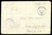 "Lot 22364:1941 use of stampless cover endorsed ""Feldpost"", cancelled with 'FELDPOST/D/--10.9.41/[eagle & swastika]' (B1), to Rüdersdorf, Germany, also bearing light unit censor handstamp."