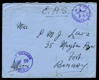 Lot 21527:1943 use of stampless OAS envelope, cancelled with 'RAFPOST/5*5/INDIA' (A1-) in purple, to Bombay, with 'UNIT CENSOR/W59/INDIA' (A1) in purple, backstamped with boxed '[CARELESS] TALKS/[COST] LIVES/DE