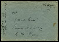 "Lot 22369:1943 use of stampless envelope endorsed ""Feldpost"", cancelled with 'SULZBERG/1III43/b"