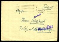 "Lot 22367:1942 use of plain cover endorsed ""Feldpost"", cancelled with poor machine of 3.12.42, to Feldpost 06735B, with straight-line 'Zurück' (A1) & 'Unzustellbar' (B1)."