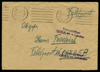 "Lot 22368:1942 use of plain envelope endorsed ""Feldpost"", cancelled with poor machine of 06.12.42, to Feldpost 06735B, with straight-line 'Unzustellbar/zurück an Absender' (A1-) in purple."