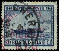 Lot 20209:1947 'US CIVIL CENSOR/MUNICH/16 7 47' (A2) in red on Belgian 3.15f blue-black cancelled Cheratte.