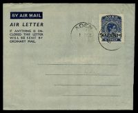 Lot 3295:1951 Surcharge HG #FG3 50c on 6a airmail lettersheet, cancelled with 'ADEN/1OCT/51' (A2-), addressed in pencil with addressee erased.