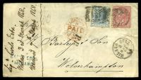 Lot 22110 [1 of 2]:1868 use of 40c rose & 20c blue, cancelled with poor grid '181' & 'MILANO STAZ/3/MAR/68/8 2' (B1), on cover to London, with straight-line 'P.D.' (B1) & 'LONDON/N/PAID/C/6MR68' (A1) in red, backstamped with 'WOLVERHAMPTON/B/MR7/69' (A1) arrival, some creasing.