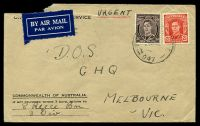 Lot 903 [1 of 2]:Field Post Office 'FIELD [POST OFFIC]E/2JE42/047.', (Bonegilla, Vic) cancelling 3d brown & 2½d scarlet KGVI, on OHMS cover to D.O.S. GHQ Melbourne, backstamped with double-circle 'ARMY/1VI42/TELEGRAPHS' (A1-), double-circle 'ARMY/V1VI42/SIGNALS' (B2) & 'ARMY P.