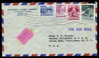 Lot 4282 [1 of 2]:1957 use of 2r green, 1r carmine, 80c red-violet & 5s blue, cancelled with 'BANDUNG/11.1.57-9/+x+' (A1) machine, on Indonesian Union Mission airmail cover to Takoma Park, Washington, bearing pink 'EXPRÈS./ESPRES.' label, backstamped with double-circle 'AMSTERDAM-CENTR STATION/15.1.10/56/1957' (B1) & 'WASHINGTON, D.C./JAN/16/5.30PM/1957/DEL. SEC.' (A1) in purple, some toning around express label.