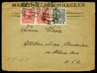 Lot 19952 [1 of 2]:1911 12h red x2 & 1h grey, cancelled with poor double-circle of 16X11, on FLEISCHHACKER cover to Allston, Massachusetts, Sealed on reverse with 'Deutscher Wehrschatz Mähren/Brünn-Krautmarkt' label in blue-black, edge wear & a couple of closed tears at top.