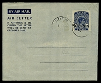 Lot 18708:1951 Surcharge HG #FG3 50c on 6a airmail lettersheet, cancelled with 'ADEN/1OCT/51' (A2-), addressed in pencil with addressee erased.