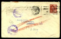 Lot 811:1955 use of 3½d QEII, cancelled with Melbourne machine of 5MAY1955, on plain cover to Bundaberg, QLD, with circular 'DEAD LETTER OFFICE/EXAMINER 2/BRISBANE' (B1) in purple, backflap sealed with Brisbane Returned to Sender label (C.952.-10.44.-7067.) partially covering straight-line 'UNCLAIMED' (B1), some light creasing.