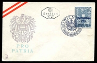 Lot 19013:1955 State Treaty 2s blue-grey on Mercury Pro Patria FDC, cancelled with Wien I Pictorial cancel.