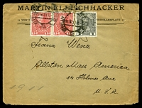 Lot 3674 [1 of 2]:1911 12h red x2 & 1h grey, cancelled with poor double-circle of 16X11, on FLEISCHHACKER cover to Allston, Massachusetts, Sealed on reverse with 'Deutscher Wehrschatz Mähren/Brünn-Krautmarkt' label in blue-black, edge wear & a couple of closed tears at top.