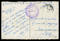 Lot 4062:1923 use of stampless coloured PPC of 'Mainz/Alter Brunnen', cancelled with '[TRESOR]