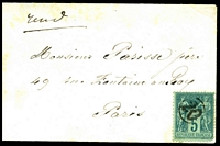 Lot 3457:20: circled '20' (A1-), cancelling 5c blue-green on green Peace & Commerce, on plain cover to Paris, some toning around edges.