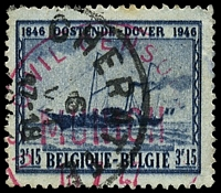 Lot 21719:1947 'US CIVIL CENSOR/MUNICH/16 7 47' (A2) in red on Belgian 3.15f blue-black cancelled Cheratte.