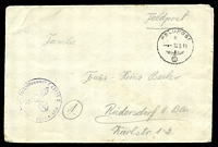 "Lot 21744:1941 use of stampless cover endorsed ""Feldpost"", cancelled with 'FELDPOST/D/--10.9.41/[eagle & swastika]' (B1), to Rüdersdorf, Germany, also bearing light unit censor handstamp."