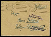 "Lot 3992:1942 use of plain envelope endorsed ""Feldpost"", cancelled with poor machine of 06.12.42, to Feldpost 06735B, with straight-line 'Unzustellbar/zurück an Absender' (A1-) in purple."