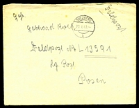 "Lot 3527:1943 use of stampless envelope endorsed ""Feldpost"", cancelled with 'SULZBERG/23.1.43/b' (A1), to Feldpost L-13591, letter included, odd tonespot."
