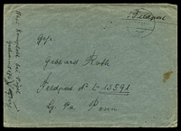 "Lot 21750:1943 use of stampless envelope endorsed ""Feldpost"", cancelled with 'SULZBERG/1III43/b"