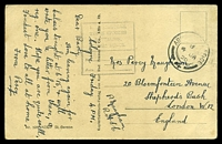 Lot 3593:1920 use of stampless black & white PPC of 'ST. GEREON' in Koln, cancelled with double-circle 'ARMY POST OFFICE/8/4JA/20/4' (A2), with boxed 'HEADQUARTERS