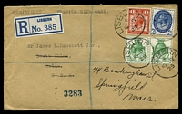 Lot 4162 [1 of 2]:1929 use of 2½d PUC, 1d PUC & ½d PUC x2, cancelled with 'LISBURN/*/16JY/29' (A1), on cover with blue 'LISBURN' registration label, to South China, Maine & readdressed to Springfield, Massachusetts, backstamped with many instances of double-circle 'BOSTON, MASS./JUL/27/1929/REGISTERED', 'EAST VASSALBRO/JUL/29/7AM/1929/MAINE' obliterator & double-circle 'SPRINGFIELD, MASS./JUL/30.1929/REGISTERED