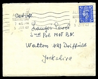 Lot 3827:1947 use of 2½d blue KGVI, cancelled with 'ALNWICK/NORTHUMBERLAND/745PM/3JAN47' (A1) machine, on plain cover to 2nd Pol MOT BN, Watton, Yorkshire, letter included in Polish from Leifield Camp 689, Wooler, Northumbria.